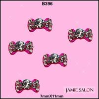 Newest Twinkle Rhinestones Bow Tie Pink Fancy Design 3D Alloy Nail Art Decoration Sticker 20pcs/lot Size: 7*11mm #B396