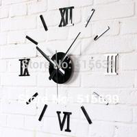 DIY Fun Creative Wall Clock Fashion Roman Numerals Black