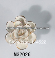 new design white ceramic flower knobs with gold edge cabinet pull kitchen cupboard knob kids drawer knobs MG2026