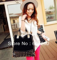 Hot Sale! Bags 2012 personality rivet patchwork shoulder bags handbag women's handbag women's bag free shipping 5357