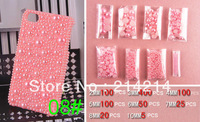 Wholesale mixed 800pc Half Round imitation Pearls Mobile phone beauty DIY mobile phone shell diamond materials Free Shipping