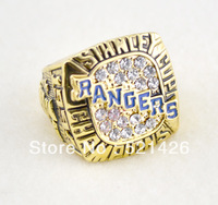 free shipping replica 18k gold plated 1994 Texas Rangers Stanley Cup championship ring with crystal