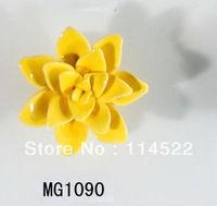 new design hand made hot sale flower ceramic knobs handles cabinet pull kitchen cupboard knob kids drawer knobs MG1090