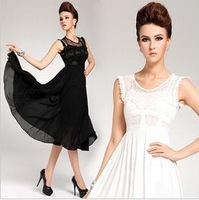 Vest maxi dress white retro women dresses 2013 new fashion white black chiffon lady maxi see through retro lace dress QZ158