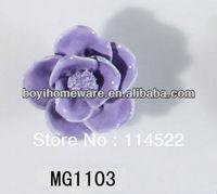new design handmade hot sale flower ceramic knobs handles cabinet pull kitchen cupboard knob kids drawer knobs MG1103