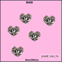 Newest Twinkle Rhinestones Heart Shape Nail Silver Fancy Design 3D Alloy Nail Art Decoration Sticker 20pcs/lot Size: 8*8mm #B409