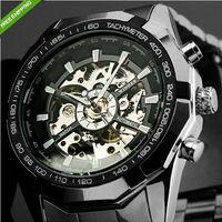 New Luxury Watch Men Luminous Hands Skeleton Auto Mechanical Watches Wristwatch Free Ship