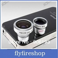 New Detachable 3in1 180 degree Fish Eye/Wide Angle/super Macro Lens Camera Kit For iPhone4s