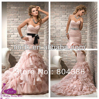 free shipping Coral-10 Sweetheart Off the shoulder mermaid puffleFloor-length Organza Lace Up 2013 Pink Wedding Dress