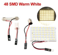 Free shipping Light Lamp Panel 48 SMD LED + T10 + Dome Interior Bulb + BA9S Adapter