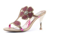 2013 Great Quality Sexy Dress Shoes Woman's Scandals Slides Wedding Party Prom Evening Shoes Flower Deco