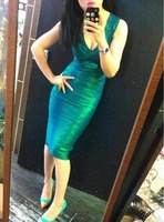 New Products For 2013 Midi Bodycon Bandage Dress Luxury Masquerade Evening Gown Couture Green Gold Shined Summer Spring HL 1332