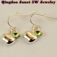 CPA Free shipping wholesale  retail silver plating fruit apple  drop earrings