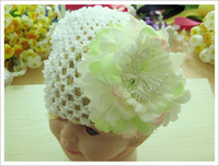 10pcs ( Baby Knit Beanie + Big Peony Flower + Hairclips ) Girl's Hair Accessories Baby Hair Bows