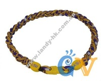 USA Team LSU Tigers Titanium Triple Braided Sport Power Core Necklace, 3 Ropes, 50pcs/lot, Free Shipping