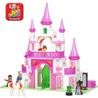 Free Shipping sluban pink princess dreaming castle children building blocks assembled educational toys