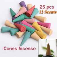 Free Shipping 25 Mix Stowage Colorful Fragrance Triple Scent Incense Cones Potpourri