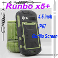 "Original Runbo X5 IP67 Dustproof  Waterproof Rugged Outdoor cellphone 4.3"" Dual SIM MTK6577 Dual Core RAM 1GB ROM 4GB"