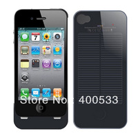 Multifuctional Black 1700mAh Li-polymer External Portable Power Battery Case Solar Power Charger Case for iPhone 4 4S