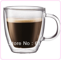 Double Wall Glass Coffee Cup Hot wholesale 2pcs/lot ,beer Mug,Teacup With Handle 150ml novelty mugs