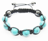 Turquoise 10MM round beads 7PCS and Hematite 10mm round beads 2PCS Woven bracelet 5PCS/Lot