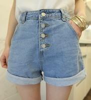 2013 summer new Korean Women Summer ladies casual high waist loose big yards breasted backing denim shorts