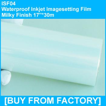 "Waterproof Inkjet Imagesetting Film Milky Finish  17""*30M"