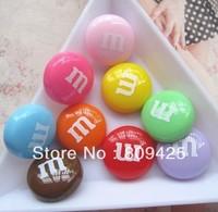 kawaii cabochons Free shipping! very hot and kawaii resin M bean chocolate cabochons 14mm for DIY phone case decoration