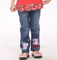 FREE SHIPPING G2915# Children's wear kids wear peppa pig boys jeans with denim and embroidery