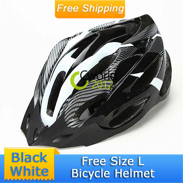 Free Shipping Adult Bicycle Safty Racing Helmet Carbon Black White Men Cycling Road Bike Helmet Free Size L With Bicycle Visor(China (Mainland))