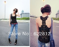 Free Shipping Lace Vest, Korea Women's Tank Top Shirt, Hollow-out Vest, Waistcoat, Camisole Pierced Lace, Free Shopping