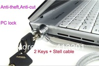 1.2 meters Notebook computer lock with Double keys defense cut anti-theft security pc lock with stell cable free shipping
