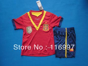 españa 2013-2014 home kids uniformes de fútbol roja, españa xavi