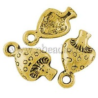Closeout Tibetan Style Pendants,  Lead Free and Cadmium Free and Nickel Free,  Mushroom,  Antique Golden,  13x8mm,  Hole: 2mm