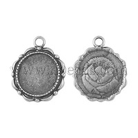 Alloy Pendant Cabochon Settings,  Lead Free and Nickel Free,  Flat Round,  Antique Silver,  23x18x2mm,  Hole: 3mm; Tray: 14mm
