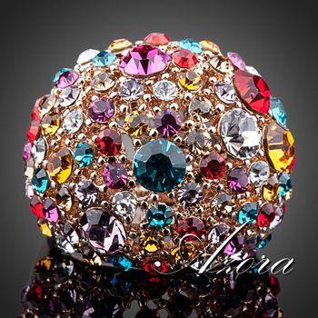 Азора великолепная 18 К роуз позолоченные многоцветный Stellux австрийский хрусталь кольцо TR0102