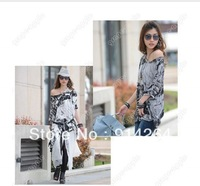 HOT ASYMMETRIC HEM OFF SHOULDER LOOSE FIT OVERSIZE FLORAL T-SHIRT WF-3936