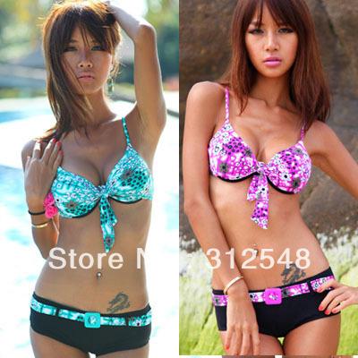 Drop shipping SL00105 Push Up Padded Bikini Swimsuit Top and Bottom Bikini Flower Pattern Swimwear New Free shipping(China (Mainland))