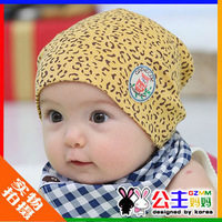Hat baby hat leopard print child cotton cloth cap pocket hat