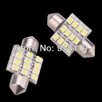 Wholesale 10X 31mm 12 LED SMD Festoon Dome Light lamp Car Bulbs pathway light door led bulb reading White blue free shipping