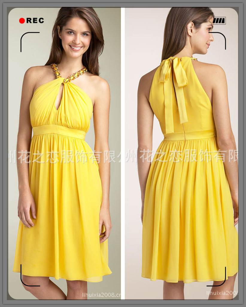 On Sale Free Shipping2013 new fashion chiffon hanging neck Slim Dress party host mini dress woman bridesmaid party dress custom(China (Mainland))