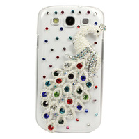 Crystal Bling 3D Peacock Case Cover For Samsung Galaxy S3 III i9300 Colorful  Free Shipping & Wholesale