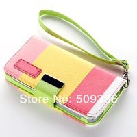 CN post free shipping 5pcs New Hybrid Leather Wallet Flip Pouch Stand Case Cover For iphone 4 4G 4th 4s