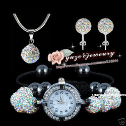 HIigh Quality Shamballa AB White Crystal Watch Necklace & Earring Set JEWELLRY SET FREE SHIPPING WHOLESALE(China (Mainland))