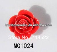 new design hand made red rose flower ceramic knobs handles cabinet pull kitchen cupboard knob kids drawer knobs MG1024