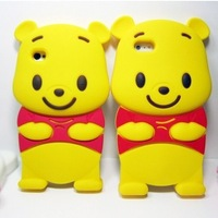 3D Lucky Cartoon Lovely Cute Winnie Bear Silicone Soft Back Case for iPhone 5, For iPhone 4G 4S, 50pcs/Lot EMS/DHL Free Shipping