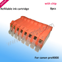 with auto chip Refillable ink Cartridges for Canon PIXMA PRO9000 PRO9000 Mark II CLI8