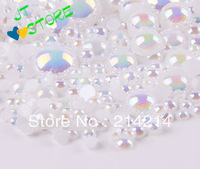 Free Shipping wholesale ABcolor 800pcs Half Round imitation Pearls Mobile phone beauty DIY mobile phone shell diamond materials