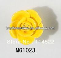 new design hand made yellow flower ceramic knobs handles cabinet pull kitchen cupboard knob kids drawer knobs MG1023
