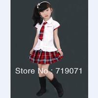 free shipping White shirt red plaid paragraph gentlewomen student school Scotland uniform customize kilt female child set